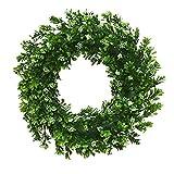 Wawer Weihnachtskranz 35CM Runder Kranz Künstlicher Kranz Grüne Blätter für Haustür, Wand,Tür,Fenster Dekoration