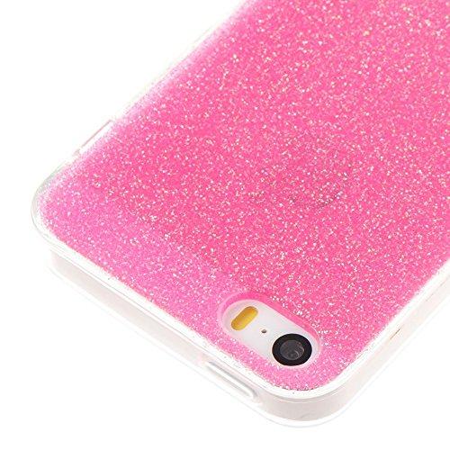 EKINHUI Case Cover Weiches flexibles Silikon TPU Gel-Abdeckungs-Fall [Anti-verkratzen] Glänzender Glitter 360 ° volle Abdeckung Rückseitige Abdeckung [Shockproof] für iPhone 5s u. SE ( Color : Silver  Rose