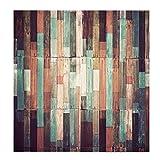B Blesiya 2 Stück Verdunkelung Vorhang Ösen Schlaufenband Blickdicht - Buntes Holz