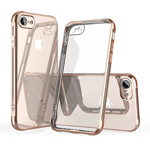 OTOFLY iPhone 8 Hülle, iPhone 7 Hülle,Silikon Soft Dünn Transparent Flexibel Ultra Slim Durchsichtig Rücken Gold Rahmen Stoßfest Case Schutzhülle Cover Handyhülle für iPhone 7/8 (4,7 Zoll), Gold