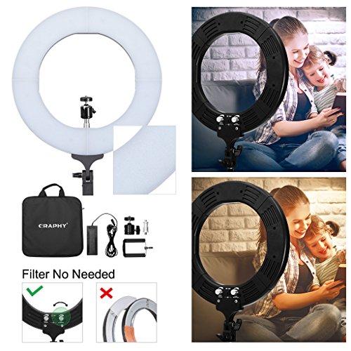 """CRAPHY Ringlicht, 12"""" 85W dimmbare LED Ringleuchte, Bi-Color Ringleuchte mit 336 LEDs, LED Ringlicht mit Stromadapter und Zubehörschuh, 2700-5500K Ringlicht Dauerlicht für die Produkt- und Portraitfotografie, Modefotografie, Videoaufnahme"""