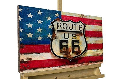 Extravagante relieve de pared de metal KunstLoft® 'Big Route' 60x40x3,5cm   Decoración XXL escultura   EE.UU. EE.UU. rojo azul Ruta 66   cuadro hecho a mano imagen mural de arte moderno