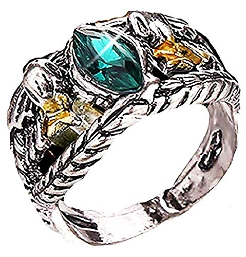 Herrenring - Ring für Herren - Der Herr Der Ringe - Grüner Stein - Lord of The Rings - Aragorn - Silberne Farbe - Messen - Ringgröße DE 59 (18.8) (Aragorn Ring)