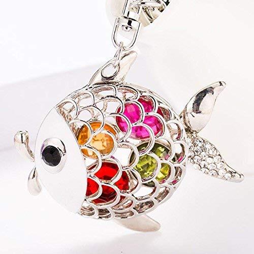 rsion des Auto-Schlüsselanhänger Choi Diamond Goldfish kreative Geschenke Schlüsselanhänger niedliche kleine Wild Card Paket Anhänger Legierung Silber Fisch 3632 ()