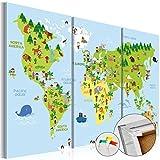 murando - Weltkarte Pinnwand 120x80 cm Bilder mit Kork Rückwand 3 Teilig Vlies Leinwandbild Korktafel Fertig Aufgespannt Wandbilder XXL Kunstdrucke Landkarte Kinder - k-B-0046-p-e