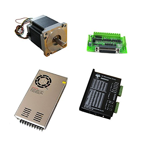 DCHOUSE 1 Axis NEMA 34 Stepper Motor 1090oz.in & Driver DM860A CNC Router Kits