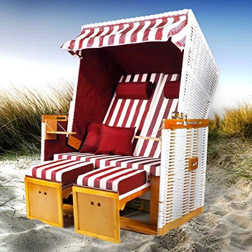 BRAST Strandkorb Nordsee XXL Volllieger Weiß Rot gestreift incl. Schutzhülle 2 Sitzer 120cm breit Gartenliege Sonneninsel Poly-Rattan -