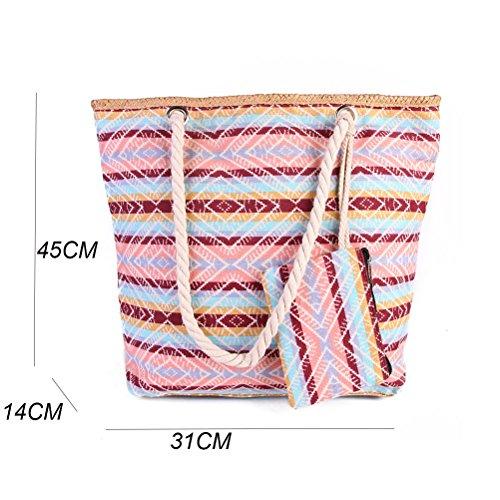 TUOTUO Le donne e le ragazze tela di viaggio borsa tote borsa a tracolla sovradimensionato borsa da spiaggia vacanza shopping bag-TipoB TipoC