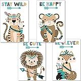 artpin Juego de 4 pósteres para habitación infantil - Decoración Niño Niña - Cuadros de pared A4 para habitación de bebé - Animales del bosque indio Safari Escandinavo, Boho, Jungle, multicolor (P44)