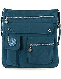 Bag Street 2221 Damen sportliche Handtasche Umhängetasche Schultertasche aus Nylon