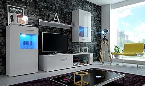 EVE Moderne Wohnwand, Exklusive Mediamöbel, TV-Schrank, Neue Garnitur, Große Farbauswahl (RGB LED-Beleuchtung Verfügbar) (Weiß Matt base/ Weiß Matt front, Möbel)