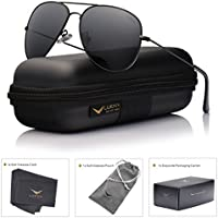 LUENX Aviator Polarized Sunglasses Mens with Case - UV 400 Protection Metal Frame