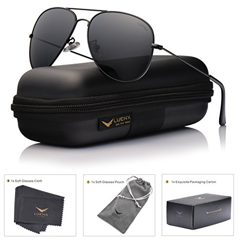 LUENX Aviator Polarized Sunglasses Mens with Case - UV 400 Protection Metal Frame