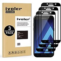 iVoler [Pack de 3] Verre Trempé Compatible avec Samsung Galaxy A5 2017, [Couverture Complète] Film Protection en Verre trempé écran Protecteur Vitre (Noir)