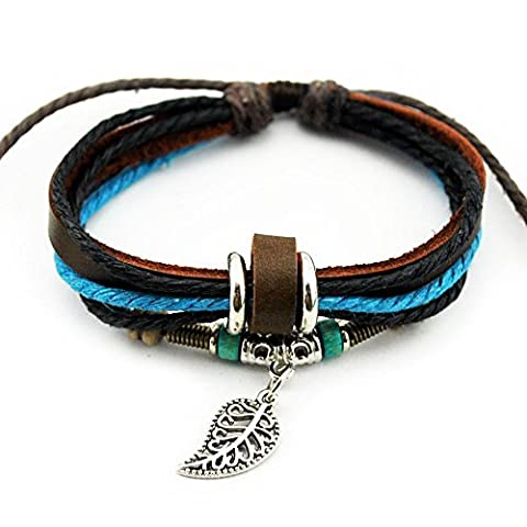 Real Spark Fashion Multilayer Rope Colorful Wraps Wristband Leaf Pendant Tribal Leather Wrap Bracelet by Real Spark