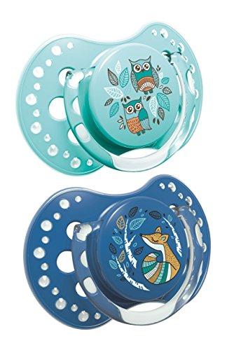 LOVI Folky - Pack de 2 chupetes dinámicos silicona, talla 6-18 meses, color azul/mint