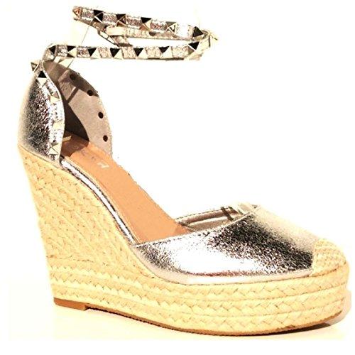 Trendige Damen Riemchen Keil Sandaletten Pumps Keilabsatz Wedges High Heels Schuhe Bequem KA2 Silber