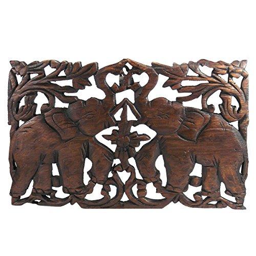 AeraVida Jubelnden Duo Elefant Thailand handgeschnitzt Teakholz Art Wand Relief Panel-Fair Trade Handarbeit von Thai gestaltet - Verzauberung Holz