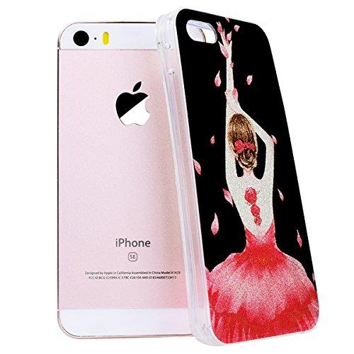 WE LOVE CASE iPhone 5S / 5 / SE Hülle Glitzern Transparent Durchsichtig Schwarz Gelb iPhone 5S / 5 / SE Hülle Silikon Weich Streifen Handyhülle Tasche für Mädchen Elegant Backcover , Soft TPU Flexibel flower girl