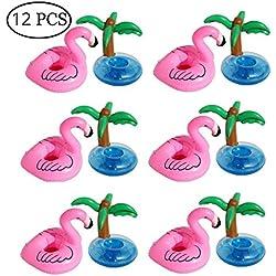 Aufblasbare Getränkehalter, Outgeek 12 Stück Flamingo Palme Aufblasbare Getränkehalter Flaschenhalter Schwimmender Getränk Untersetzer Getränkehalter Aufblasbares Badespielzeug