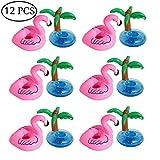 Aufblasbare Getränkehalter, Outgeek 12 Stück Palme Flamingo Aufblasbar Getränkehalter Flaschenhalter Schwimmender Getränk Untersetzer Getränkehalter für Pool Summer Party Deko Aufblasbares Flaschenhalter Badespielzeug
