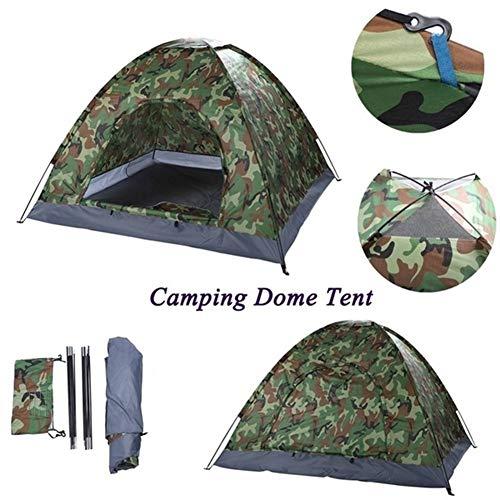 Doofang Tenda da Campeggio Impermeabile 4 Posti verde Militare, Tenda Apertura Istantanea 2-4 Persone Mimetica, Tenda Antivento Portatile