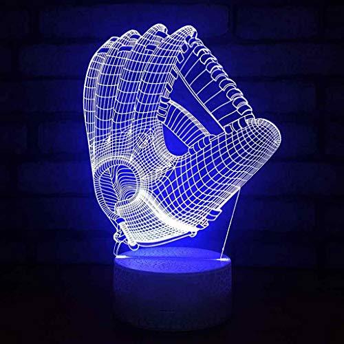 Lampe 3D Stereo Nachtlicht LED Acryl Schreibtischlampe Baseball Handschuh Muster Optische TäUschung Nachttischlampen Schlafzimmer Dekoration FüR Kinder Geschenke GIF -