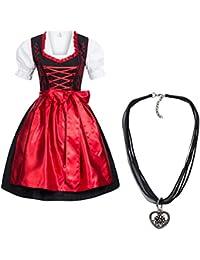 Dirndl Set 4 tlg. Trachtenkleid schwarz mit roter Stickerei leuchtende Farbe + Dirndlkette mit Herz Anhänger, Marke Gaudi-Leathers