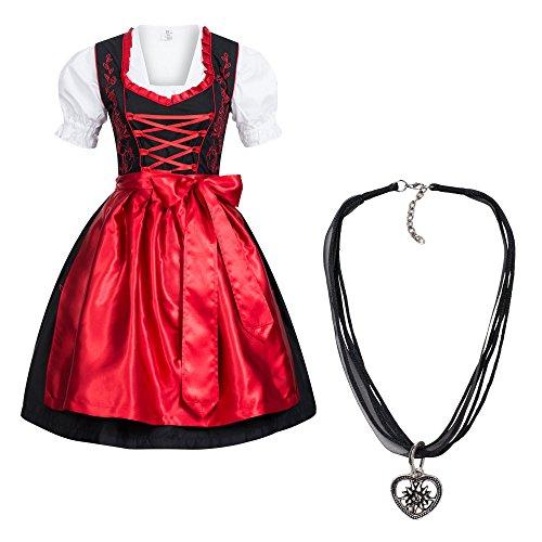 Dirndl Set 4 tlg. Trachtenkleid schwarz mit roter Stickerei + Dirndlkette 42