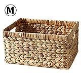 Basket Box Tessuto Rettangolare con Manico in Vimini, Contenitore per Snack Giornale Libri Sundries Vestiti Giornale e Book Storage Box, Medium