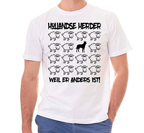 Siviwonder Unisex T-Shirt BLACK SHEEP - HOLLANDSE HERDER Schäferhund - Hunde Fun Schaf Weiß