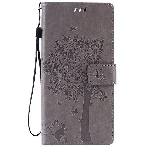 kelman Hülle für Sony Xperia C5 Ultra Hülle Schutzhülle PU Leder + Soft Silikon TPU Innere Schale Mode Prägung Brieftasche Flip Halterung Handyhülle - [KT02 - Grau]