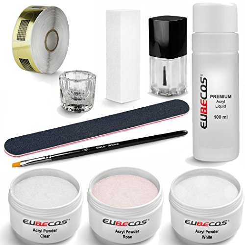 Acryl Starter Set PLUS Liquid 100ml Acrylpuder weiss klar rosa 90g + Anleitung