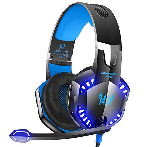 elecstars G2000Stereo Gaming Headset für PS4, PC, Xbox One PS4PC, Surround Sound Over-Ear-Kopfhörer mit Mikrofon, LED-Licht, Bass Surround, Soft Memory Ohrenschützer für Laptop Mac Nintendo Schalter Spiele