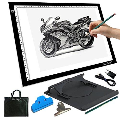 Yaufey® A3 LED-Helligkeit einstellbar Licht Pad für Tattoo-Designer Tracing Tisch Tattoo Licht Tablet zeichnen, 6 Helligkeitsstufen (A3 USB)