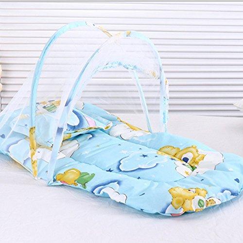 Faltbares Babybett Moskitonetz Tragbares Reisebett Baby-Krippe Insektenschutz Schlaf Cob Baby Zelt Mit Kissen (Blau)
