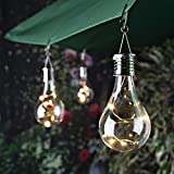 TWIFER Wasserdichte Solar drehbare Outdoor Garten Camping Hanging LED Licht Lampe Birne (Clear)
