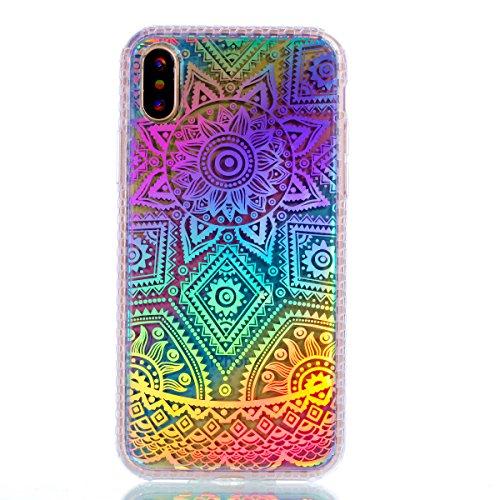 Pour Apple Iphone X Case Cover, Ecoway TPU Soft Motif de placage en couleur personalized pattern Housse en silicone Housse de protection Housse pour téléphone portable pour Apple Iphone X - diamant pivoine