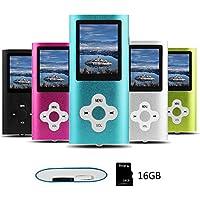 Btopllc Reproductor de MP3/MP4 Reproductor de música portátil de 16GB Reproductor multimedia digital compacto con mini puerto USB Reproductor de música compatible con música,Ebook,Imagen - azul
