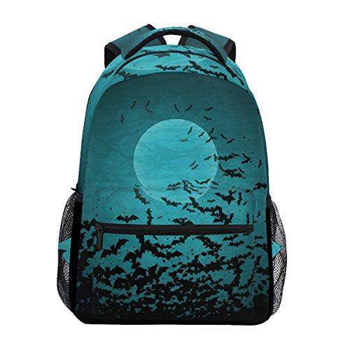 TIZORAX Halloween Mond und Fledermäusen Rucksack Schule College Tasche Schultasche Wandern Reise Rucksack für Damen Herren, damen, Pattern-1, Einheitsgröße