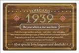 Schild Retro Vintage Geburtstag 80 80er achtzig Jahrgang 1939 Geschenk 300 x 200 mm