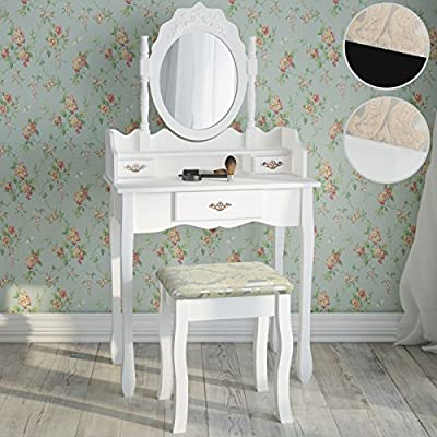 Miadomodo Dressing Table Make Up Dresser with Stool (3 Drawers) Adjustable Mirror Baroque Style Cosmetics Bedroom Commode available in White and Black