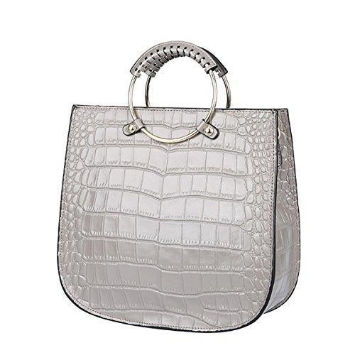 Valin Q0825 Damen Leder Handtaschen Satchel Tote Taschen Schultertaschen Grau