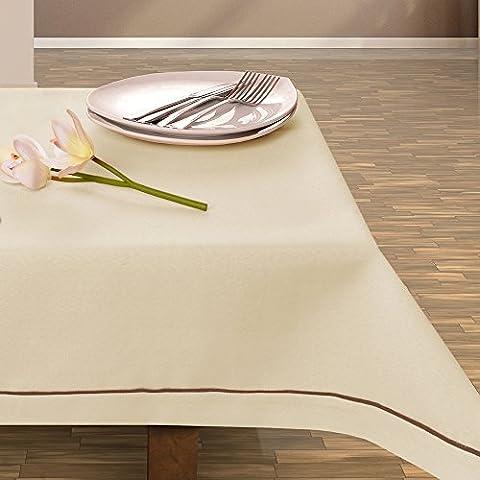 Mantel de decoración de mesa de colour crema muy práctico y de fácil cuidado Leinoptik lino con ribete de prendas de lino 80x140 beige
