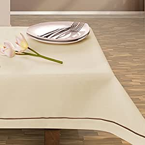 150x220 creme Tischdecke Tischtuch elegant praktisch pflegeleicht Leinoptik Lein Optik mit Borte Modern Lein