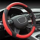 Finoki Auto Universal Anti Rutsch Atmungsaktive Lenkradhülle Lenkradbezug Lenkradschoner aus Mikrofaser-Leder 30-38cm (Rot)