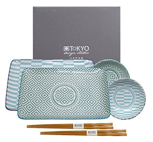 Tokyo Design Studio, Sushi Assiette+bol+baguette, porcelaine japonais, Geometric Eclectic - Coffret de 2