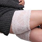 Susenstone Elastic Anti-Chafing-Schenkel-Bands Oberschenkel Socken (B, Weiß)
