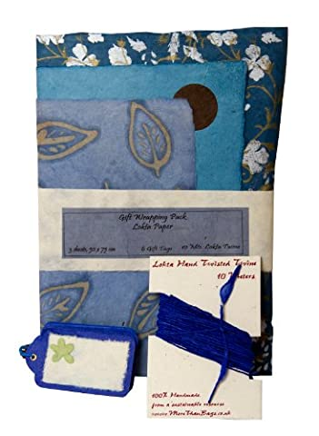 Gift Wrap Pack/Crafting - Blues - Lokta paper - Handmade throughout
