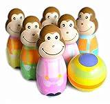 Affen Wooden Skittles Bowling Holz Kegeln